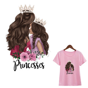 Güzel Prenses kavuruyor Crown Princess Yama Moda Demir On Diy Aksesuar Isı Transferi Çıkartma Giyim Transferi Demir-On