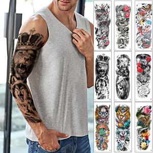 Gran grande falso fresca brazo lleno tatuaje temporal león cráneo Dragon Tiger Fish Crown King Diseño Negro Cuerpo de maquillaje etiqueta engomada del tatuaje del papel de transferencia