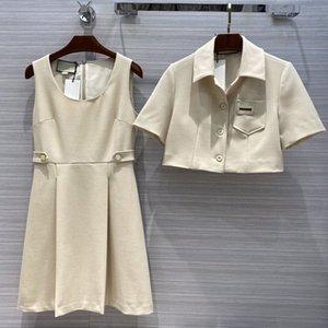 Fashion women's high-end autumn vintage elegant high waist suit top + vest round neck waist A-line dress two-piece suit set