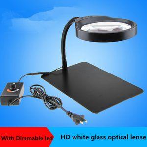 Freeshipping Германия PDOK 8x настольная лупа с 36шт LED HD объектив лупа / пожилые чтения LED лупа лампа / ремонт стоит свет