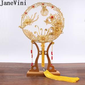 JaneVini or rouge Fleurs perlée Ancient Bride Holder main aux fans de couverture du visage traditionnel chinois nuptiale bouquet de mariage Fan