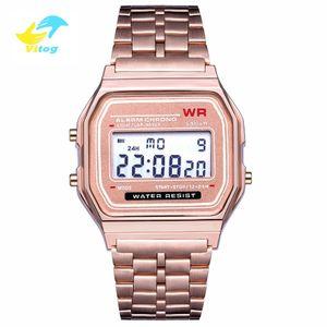 Мужские Vitog Спортивные светодиодные цифровые часы Luxury Rose Gold Женщины Человек Часы из нержавеющей стали Часы Thin Электронные наручные часы