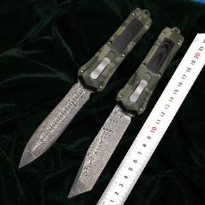 Micro-technologie en alliage d'aluminium Damascus portable couteau d'action tactique couteaux de camping en plein air basculer chasse aux outils d'autodéfense