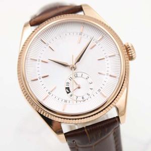 40 MM Automatische Mechanische Herrenuhr Uhren Rotgold Gehäuse Weißes Zifferblatt Mit Einem Braunen Lederband Und GMT Subdials