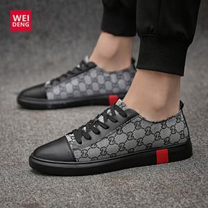 WeiDeng della mucca degli uomini casuali degli appartamenti del cuoio genuino pattini Lace Up Moda scarpe maschili confortevole luce estiva di alta qualità più dimensioni
