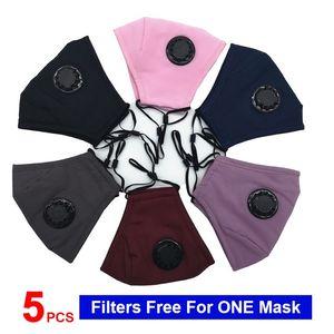 5 pezzi Filtro gratuito per un cotone Mask DHL 1Day modo libero di trasporto per adulti cotone maschera di protezione maschera di cotone lavabile riutilizzo Dust