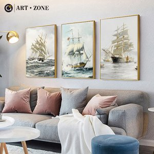 ART ZONE Sea Sailing Canvas Painting Europe Classical Sea Travel Art Poster Home Study Room Decor Painting Photography Picture