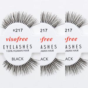 12 Paare / Los Wimpern 100% Echthaar handgemachte falsche Wimpern Messy Natur Eye Lashes # 217 maquiagem