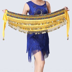 lnoFZ Belly Indian practice performance Belly Indian dance scarf practice towel chain hanging coin waist chain Double Row Dance performance