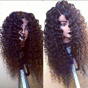 긴 검은 색 곱슬 가발 내열성 합성 Ladys '머리 가발 아프리카 kinky 곱슬 아프리카 아프리카 미국 합성 레이스 프론트 가발