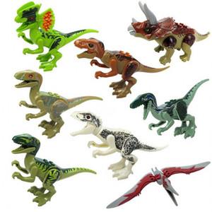 Jurassic Dinozor Tuğla Şekil Hayvan Vahşi Dünya T-Rex Yankı Pterosauria Triceratop Indomirus Rex Yapı Taşı Oyuncak Boys için