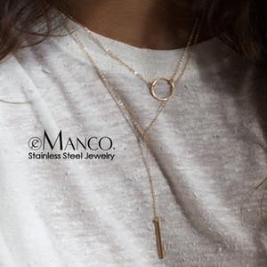 e-Manco Mulheres Colares de aço inoxidável vara longa colar redonda pingentes colares para mulheres Drop Shipping Declaração Jóias
