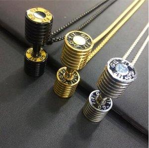 Carta Dumbbell Pendant aptidão Barbell Colar Moda Titanium aço dos homens jóias em aço inoxidável