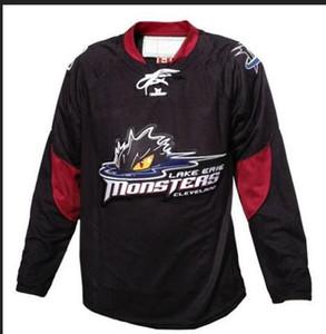 mulheres costume Homens Jovens Vintage Personalizar AHL Cleveland Lake Erie Monstros Hockey Jersey tamanho S-5XL ou personalizado qualquer nome ou número