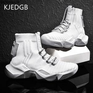 KJEDGB Men's Casual Shoes Fashion Light High-top Platform Sneakers Black White Breathable Male Thick-sole