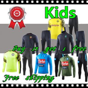 2019 2020 çocuk ac real madrid Napoli şehir çocukları eğitim takım elbise italya roma Futbol Eşofman 19 20 Piatek Verratti futbol çocuk ceket kiti