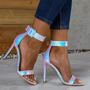 DiJiGirls fluorescentes Sandálias de couro de salto alto de casamento do tornozelo Strappy Gladiator Sandals Sexy Shoes Peep Toe Stiletto 42