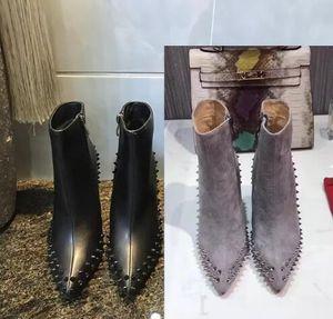 Luxus schwarz rot Leder mit Spikes spitzen Zehen Damen Stiefeletten Modedesigner Sexy Damen rote untere Absatz-Schuhe Pumps