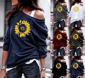 2020 neue Frauen-Polyester O-Neck Pullover Daisy Druck Langarm Sweatshirts Mix Farbe Größe S-5XL