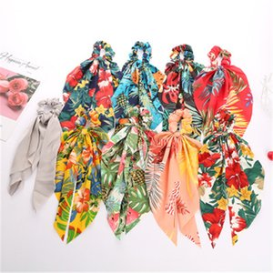 Printed Silk Hairband Streamer Ponytail Hair Rubber Bands Scrunchies Exquisite Head Rope For Women Head Flower Hair Accessories