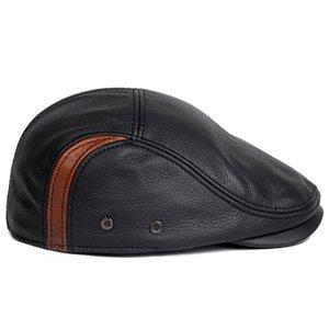 Svadilfari wholesale Genuine Leather Windproof Duckbill Man Beret Cap Senior Men Winter Autumn Black Brown Warm Hats For Male