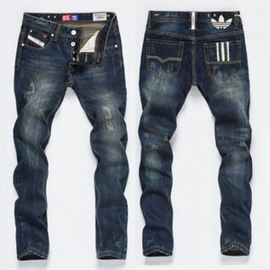 vendita calda nuovi uomini di marca dei jeans uomo Denim uomini di marca di modo strappato Distressed jogging lavato Pieghe moto Jeans Pants