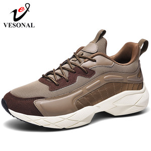 VESONAL Marca Qualidade PU Casual Leather Sneakers Shoes Para Adulto 2019 Autumn confortável Vintage Masculino calçado grosso inferior