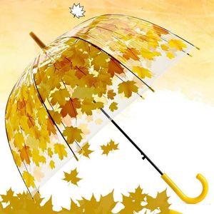 Neueste Transparent PVC Pilz Regenschirme Halbautomatische Grün gedruckt Blätter Regen Klar Blatt Blase windundurchlässige Regenschirm Sea Shipping DDA48