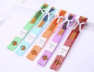 Çin Tarzı East Meet West Doğal Bambu Chopsticks bulaşığı Düğün Favor Parti Hediye eşyalar Ücretsiz Kargo wen5491
