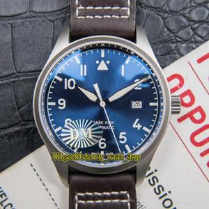 DMF Version meilleure note XVIII Pilot 327004 Date de cadran bleu Montre automatique ETA A2824 Mens saphir métal titane HOUSSE Sport Montres