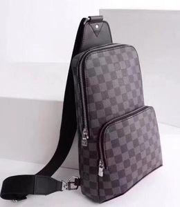 Hot couro real saco Homens peito AV. SLING BAG D.GRAP. saco de viagem N41719 MENS corpo transversal ombro mama bolsa N41719 AVENUE