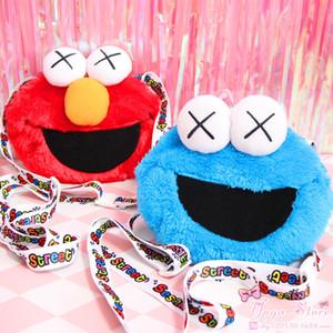 Adorável Crianças saco Japonês Popular Rua Sésamo Elmo cookie estranho X olhos bonito boneca de pelúcia crossbody bag crossback pequeno saco