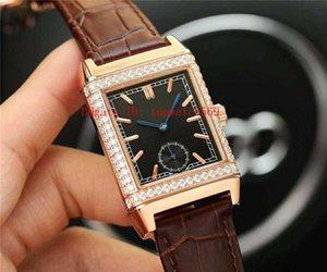 New Diamond Watch Reverso Assista retangular Mens Watch suíço automática 28800 VPH moldura do diamante Caso Rose Gold Sapphire Super Resistente à água