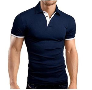 Designers Fashion Short Sleeve Mens Polos Skinny Print Lapel Neck Mens Tops With Button