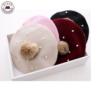 Hot Kids Pearl Rabbit Fur Beret Hat for Baby Girls Beanie Hats With pompom Multicolors