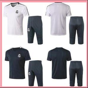 Real Madrid kit di polo di calcio della tuta 18 19 kit di addestramento di calcio manica corta sport degli uomini jersey pantaloni 3/4 adulti sets di calcio si adatta