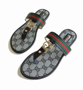 sandali di estate nuove donne 2019 europei e americani in pelle di moda Joker linea rhinestone ceco pigri comode pantofole