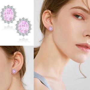 Pink Crystal Silver Earrings 925 Women Gemstone Big Stud Earring Oval Cute Romantic Fine jewellery Female Kolczyki Discount