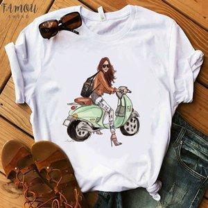 Shirts Women 2020 Vogue Blink Women T Shirt Make Up Lipstick Cap Sleeve Seaside T Summer Lady Streetwear Bag T Shirts