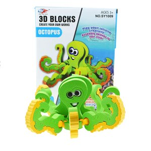 New Oxyphylla Spelling Insert Octopus Eight Claw Fish 3d Metal Three-dimensional Jigsaw Dinosaur Assembling Educational Toys Painting Snake