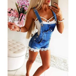Overalls Women Summer Playsuit Casual Ladies Rompers Denim Bib Pants Short Jumpsuits Streetwear Ripped Playsuits Dungarees D40