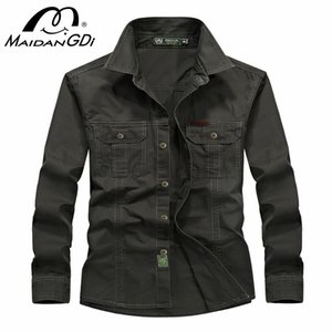 Shirts For Men 2020 Summer Long Sleeved Solid Color Tops male's Slim Military Army Shirt 100% Solid Cotton Tops Men's Shirts