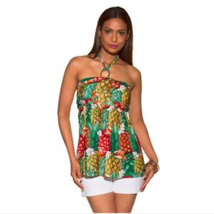 2018 여성 여름 민소매 여성 블라우스 캐주얼 파인애플 꽃이 화려한 셔츠 플러스 사이즈 여성 탑 인쇄 인쇄