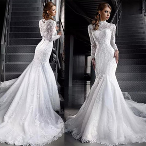 2020 Vintage Mermaid Wedding Dresses with Long Sleeves Lace Applique Bridal Gowns Mariage Dress Noiva Vestido
