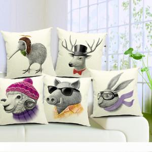 Minimalist Nordic Cushion Covers 5 Designs Literature Style Adorable Cartoon Animals Pillow Cover Deer Sheep Pig Bird Rabbit Pillow Cases