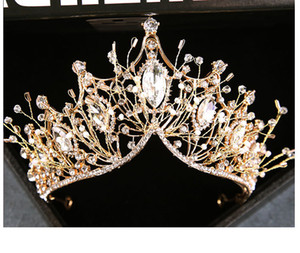 2020 Bride coiffe main fée coréenne super or femme bande de cheveux de la couronne en strass accessoires pour cheveux de mariage en gros de bijoux de mariage