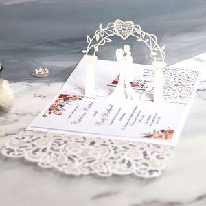 (50 шт / много) 3D Невеста и жених белый свадебные приглашения карты Laser Cut Карманный Цветочные Обручальное Индивидуальные приглашения IC052