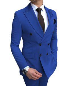 2020 Il nuovo sposo Outfit Beige uomini del vestito 2 Pezzi doppio petto Notch risvolto sottile piano Fit smoking casual per Matrimonio (Blazer + pantaloni)