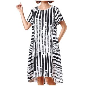 Fashion New Spring 2020 Frauen Striped Druck DressFashion Frauen-Sommer-gestreifte Baumwolle und Leinen Print Short Sleeve