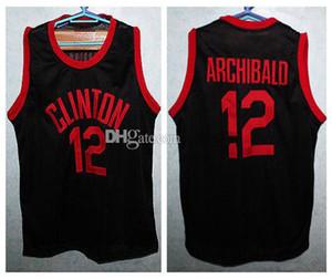 """Clinton Lisesi Nate """"Küçük"""" Archibald # 12 Retro Basketbol Jersey Erkekler Dikişli Özel Sayı Adı Formalar"""